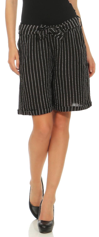 malito Donna Lino Pantaloni Casual Bermuda Strisce Pantaloni 6820