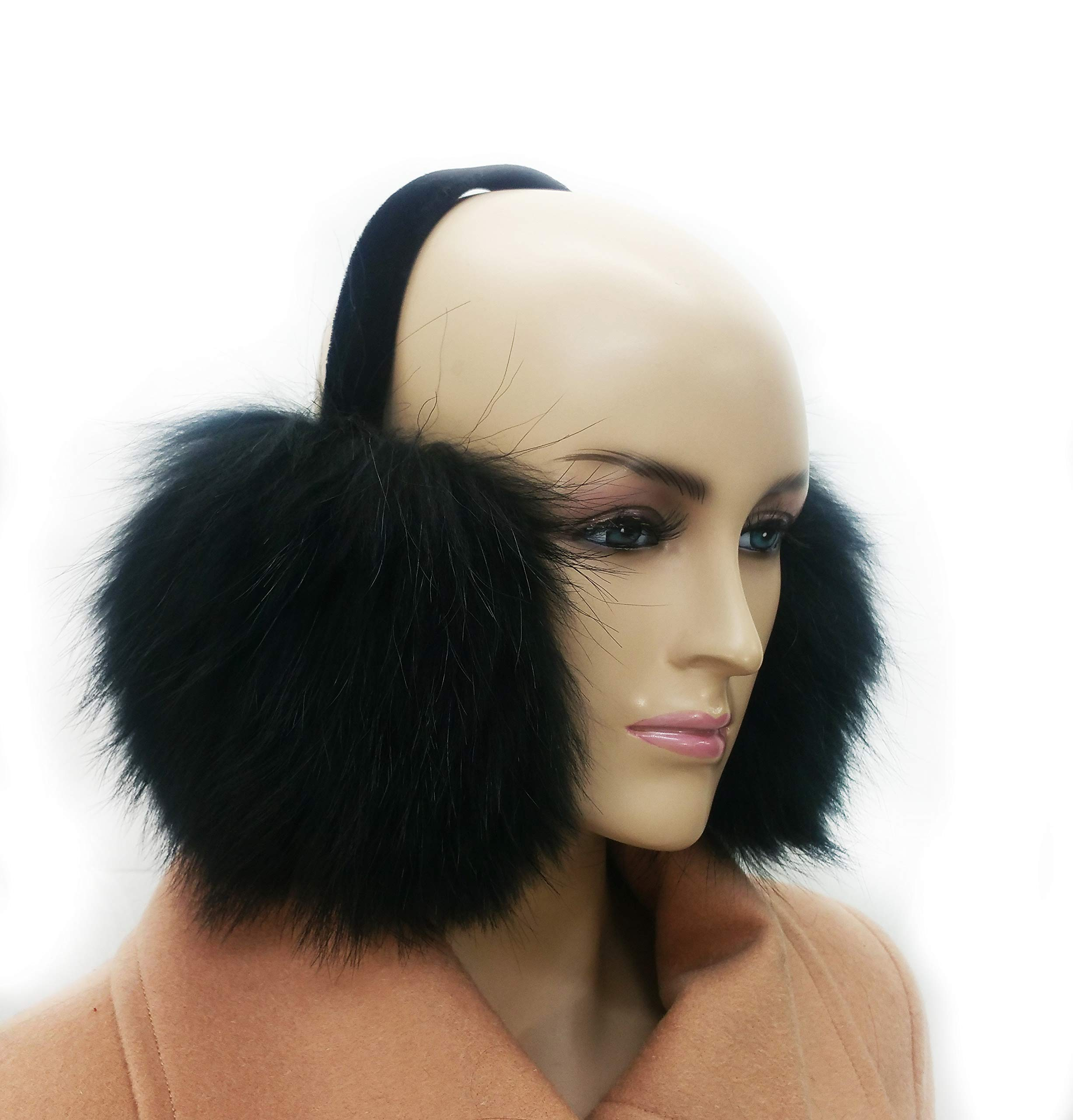 Hima Real Fox Fur Earmuff (Black)