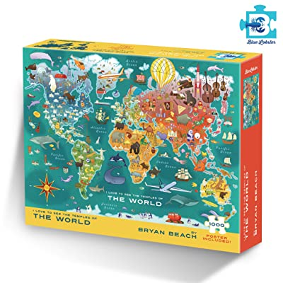 Temples of The World Puzzle by Bryan Beach from Blue Lobster - 1000 Piece: Toys & Games