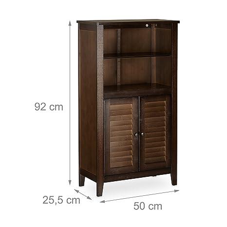 Relaxdays Armario de baño LAMELL, gabinete de teléfono, mueble de cocina, 92 x 50 x 25,5 cm, bambú, marrón oscuro: Amazon.es: Hogar