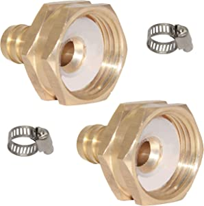 "Joyway 2Pcs 1/2"" Barb x 3/4"" Female GHT Thread Swivel Hex Brass Garden Water Hose Pipe Connector Copper Fitting with Stainless Clamp House/Boat/Lawn/Power Wash/Irrigation"