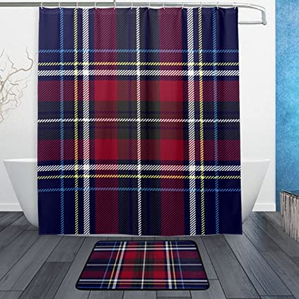 My Little Nest Red Navy Blue Checkered Plaid Shower Curtain Set Bathroom Decor Waterproof Polyester