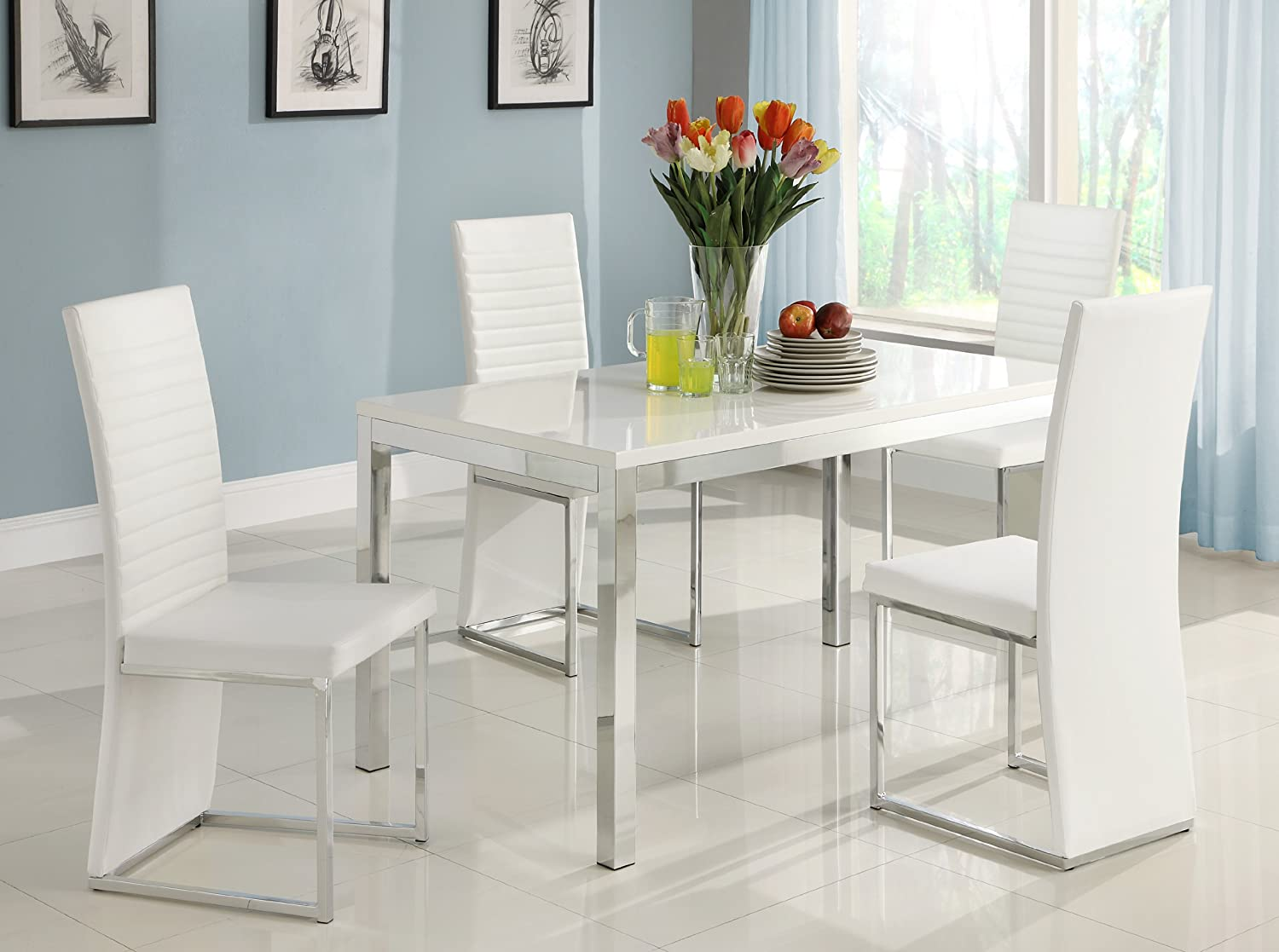 Elegant Amazon.com   Homelegance Clarice Chrome Dining Table     Table U0026 Chair Sets