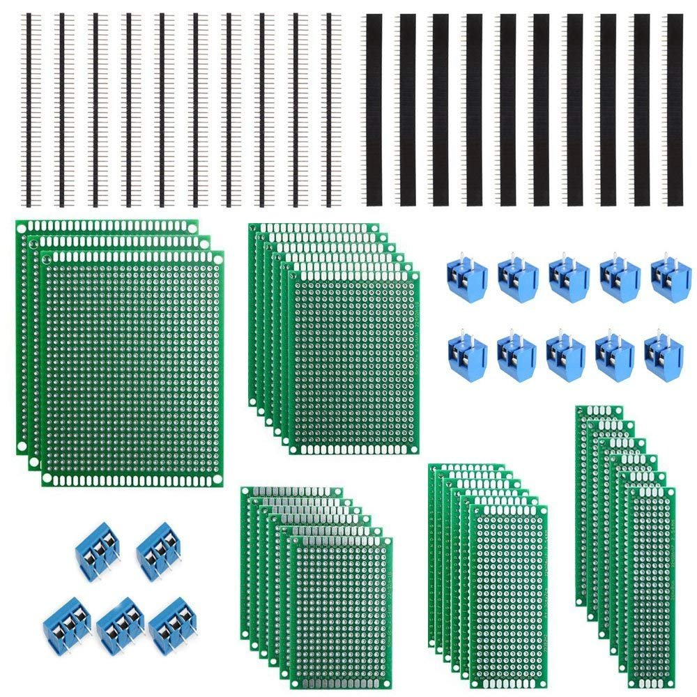 27Pcs PCB Board Double Sided Prototype Universal Board Kit for DIY Soldering (Prototyping Boards & Accessories) WSKTOP