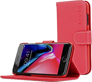 Snugg iPhone 8 Plus / 7 Plus Wallet Case – Leather Card Case Wallet with Handy Stand Feature – Legacy Series Flip Phone Case Cover in Red