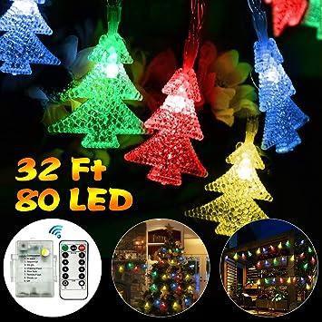 Amazon.com : Christmas String Lights 80 LED Colored Christmas Tree ...