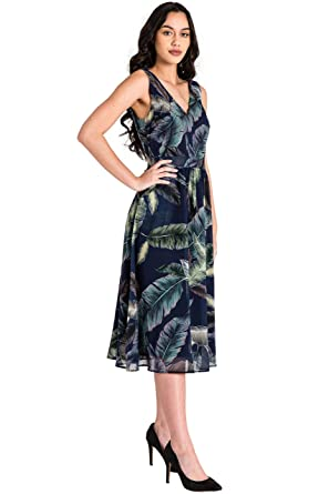 06eabe3cf31 Standards   Practices Modern Women s Leaf Print Sleeveless Chiffon ...