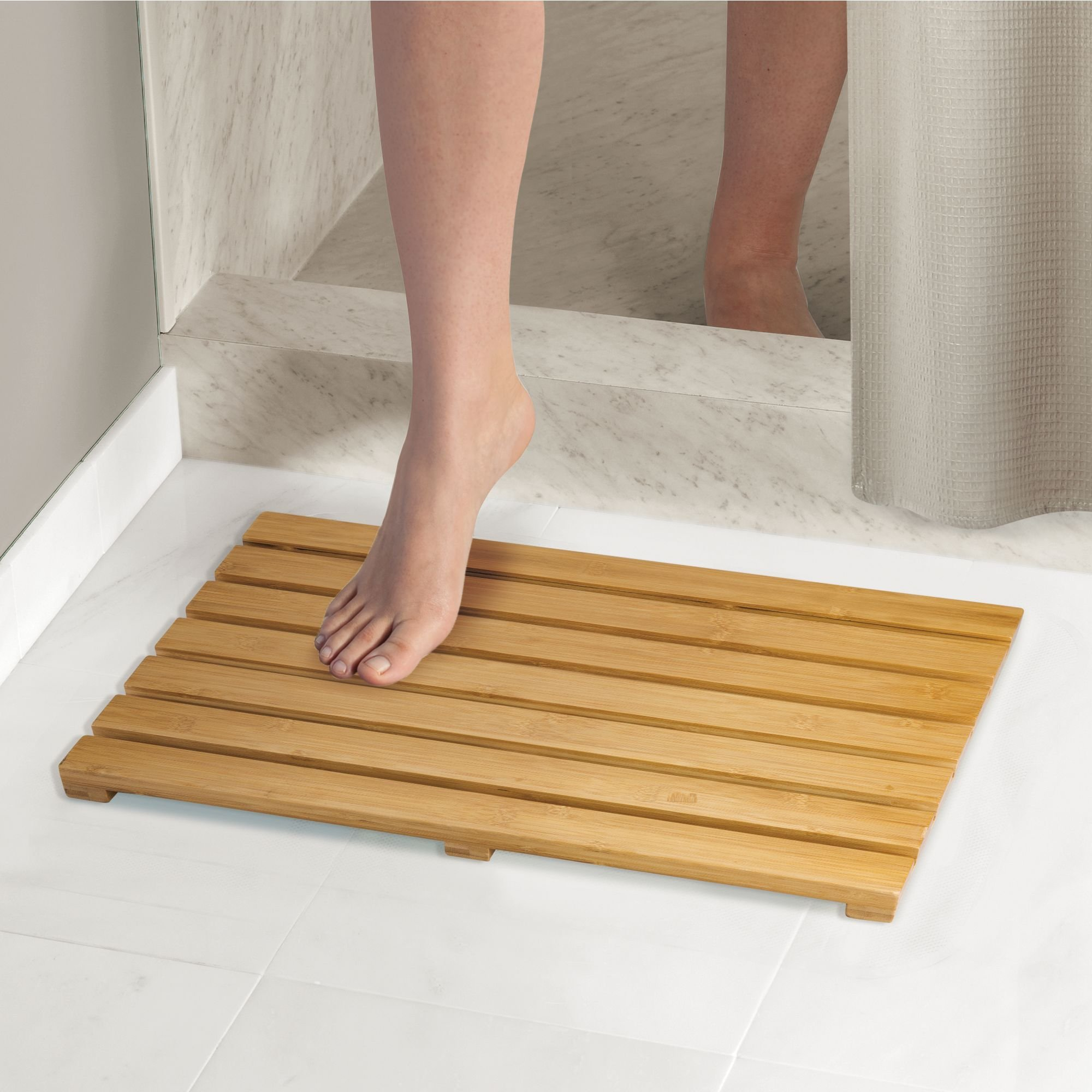mDesign Natural Bamboo Non-Slip Rectangular Spa Bath Mat - for Bathroom Showers, Bathtubs, Floors - Slatted Design, Eco-Friendly - Indoor and Outdoor use - 100% Bamboo Wood, Natural Light Wood by mDesign (Image #2)