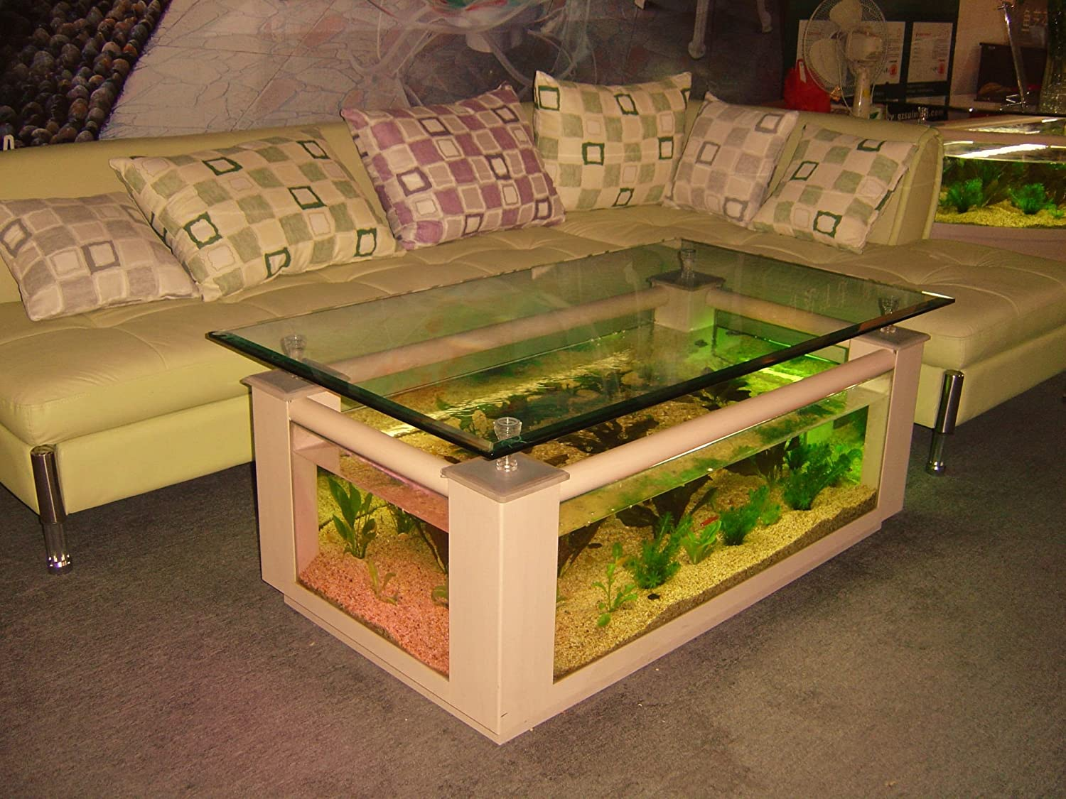Amazon.com : 36gl Rectangle Coffee Table Aquarium, Completely Fish Ready  With Hidden Filter And LED Lights : Pet Supplies