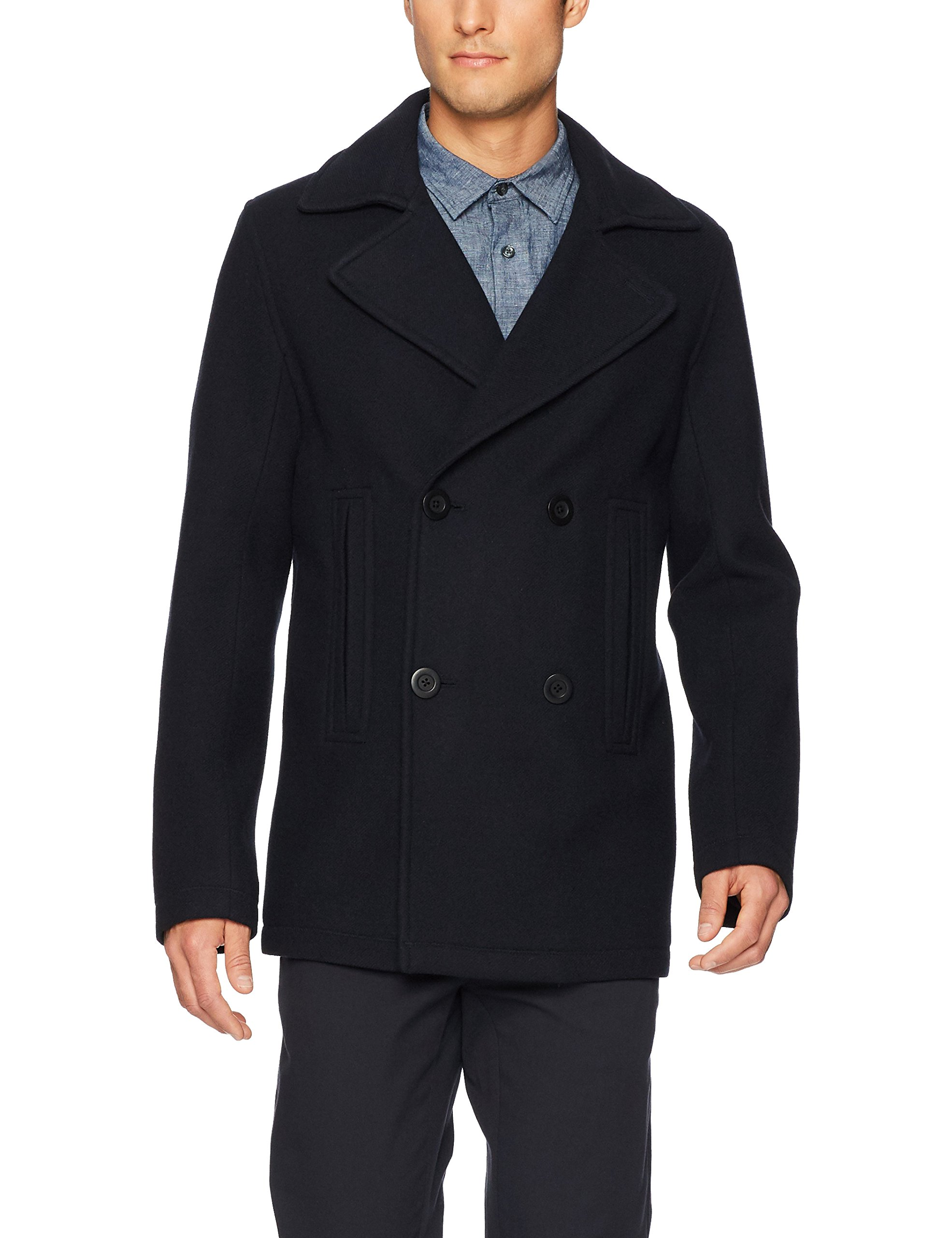 Vince Men's Bonded Double Breasted Peacoat, Coastal, L