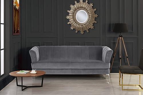 Elegant Classic Living Room Velvet Sofa