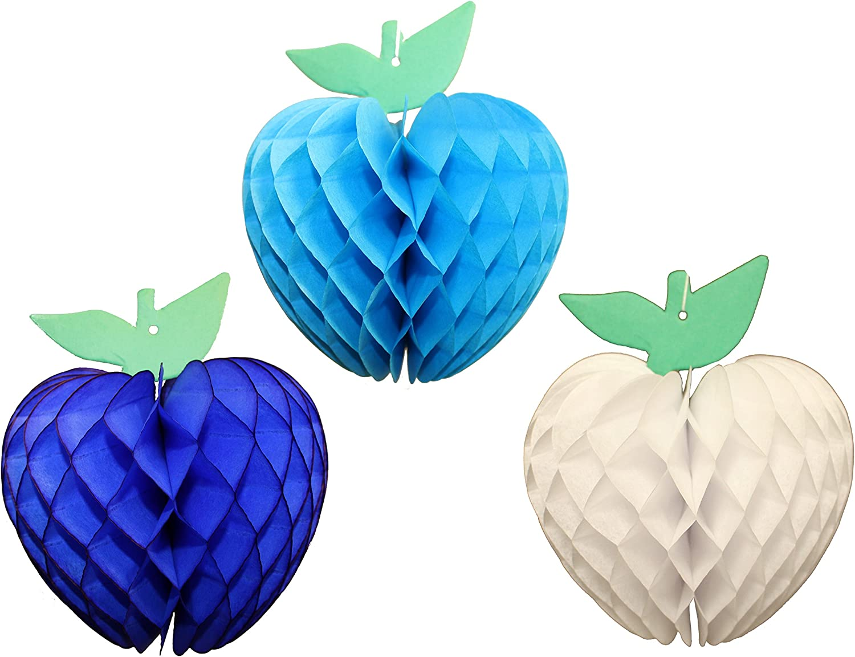 7 Inch Honeycomb Tissue Paper Apple Decoration, Set of 3 (Turquoise, Dark Blue, White)