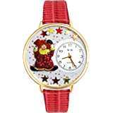 Red Star Clown Red Leather And Goldtone Watch #WG-G0210008