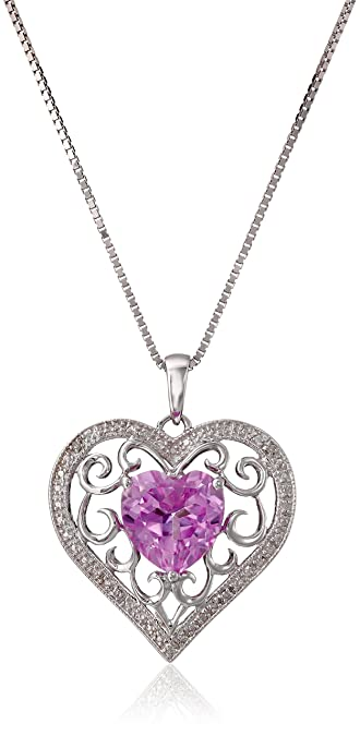 Amazon sterling silver created pink sapphire and diamond accent sterling silver created pink sapphire and diamond accent heart pendant necklace 18quot aloadofball Image collections