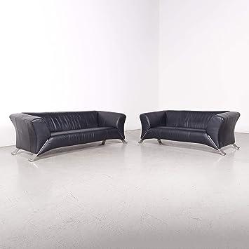 Rolf Benz 322 Designer Leder Sofa Garnitur Schwarz Echtleder ...