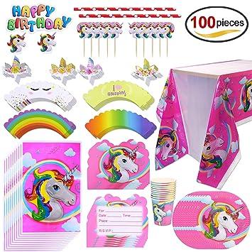 Howaf Kit de Mesa Fiesta de Unicornio cumpleaños, 100 Piezas ...