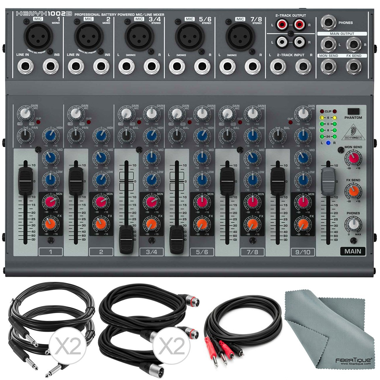 Behringer XENYX 1002B 10-Channel Audio Mixer with Cables and Fibertique Cloth 4334432401