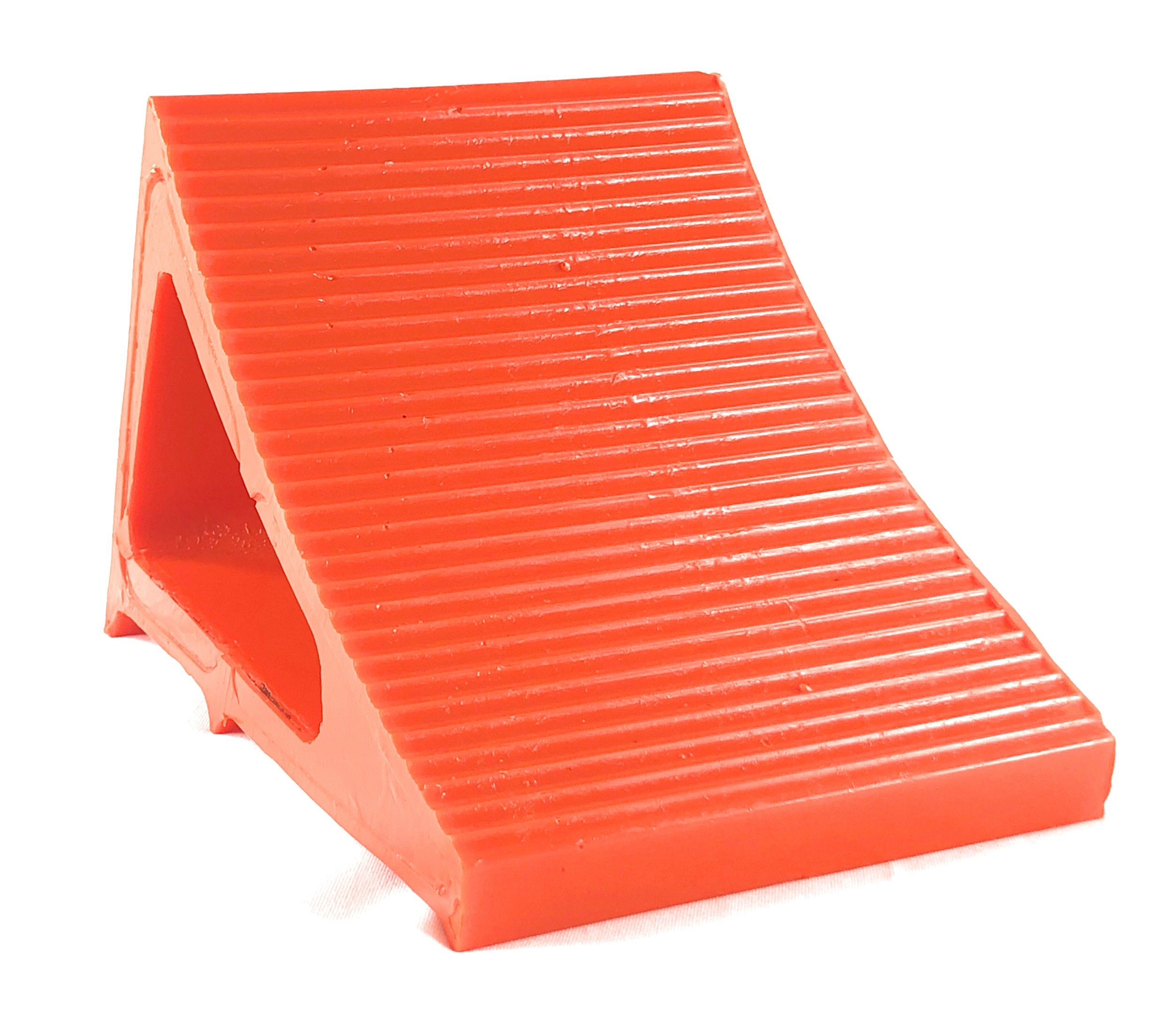Elasco Wheel Chock, Weatherproof, Outdoor Grade, Polyurethane better than Rubber or Plastic, Keeps Your Trailer or RV In Place, 5 Year Warranty (2 Pack, Orange) by Elasco Products (Image #2)