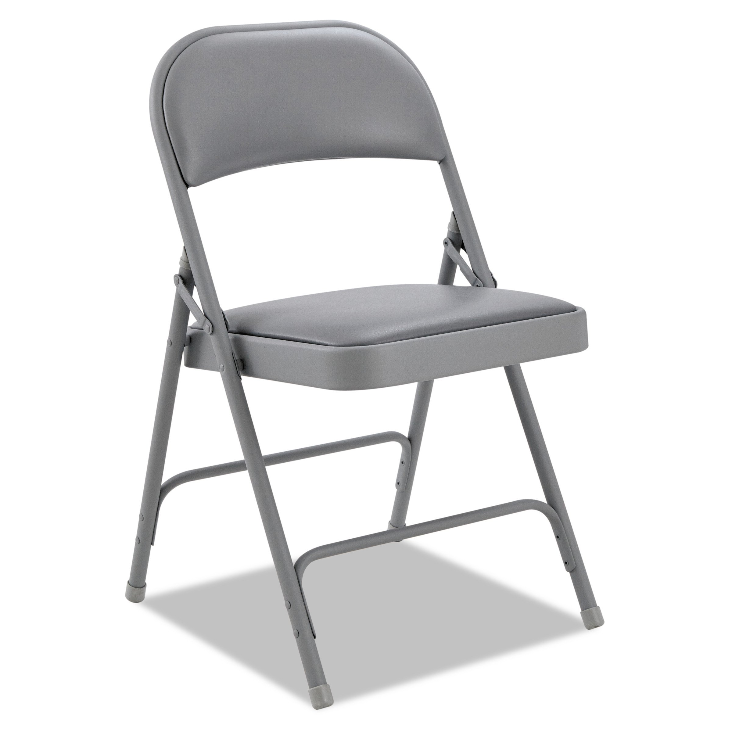 Alera FC96G Steel Folding Chair with Two-Brace Support, Padded Back/Seat, Light Gray (Case of 4)