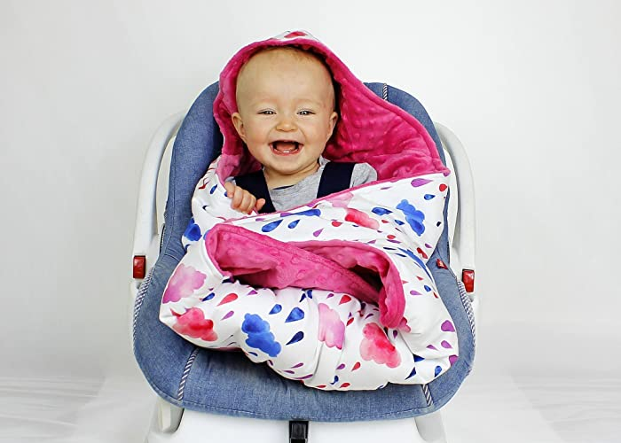 Handmade Car Seat Wrap Blanket Hooded Cloud Swaddle Travel Custom