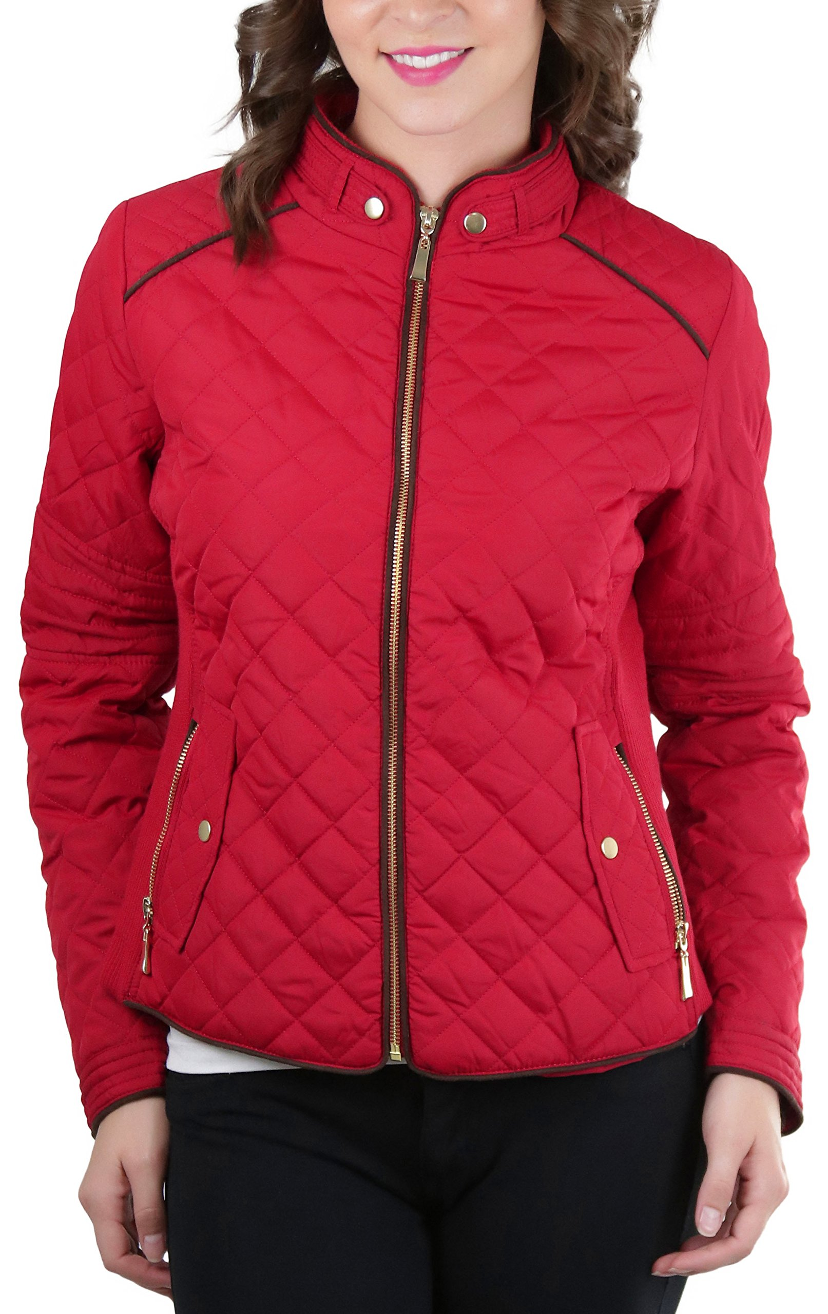 ToBeInStyle Women's Quilted Padded Jacket Suede Piping - Red - Small