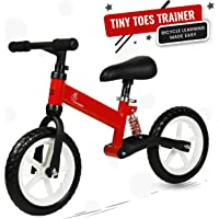R for Rabbit Tiny Toes Trainer Balance Bike for 2-5 Year-Old Toddlers - Bicycle Learning Made Easy (Red)