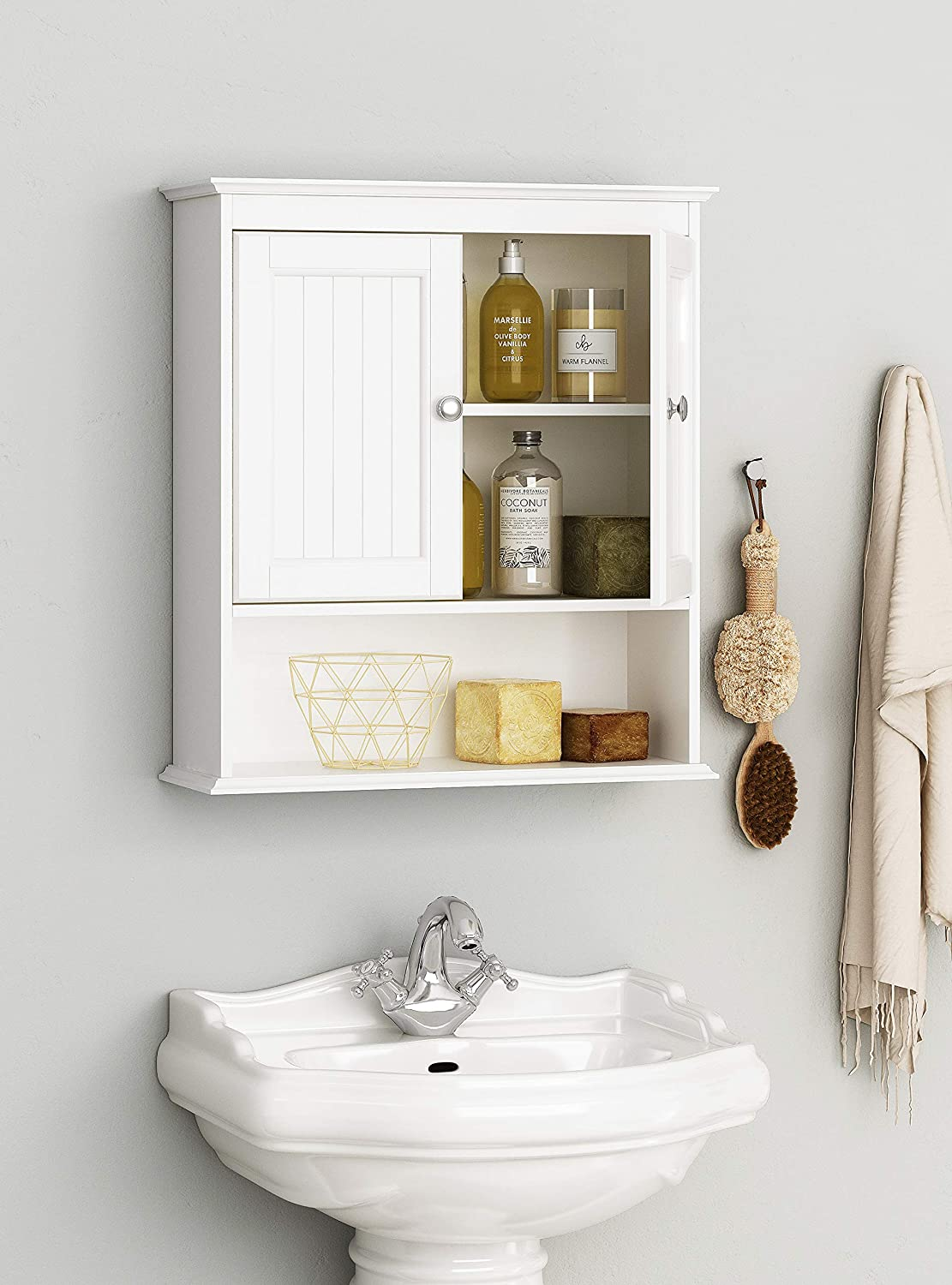 Spirich Home Bathroom Cabinet Wall Mounted with Doors, Wood Hanging Cabinet, Wall Cabinets with Doors and Shelves Over The Toilet, Bathroom Wall Cabinet White