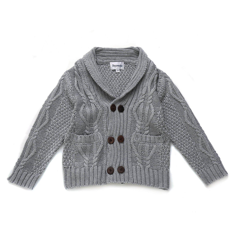 DOYOMODA Baby Boys Cable Knit Cardigan Shawl Collar Sweater (18M, GREY) by DOYOMODA