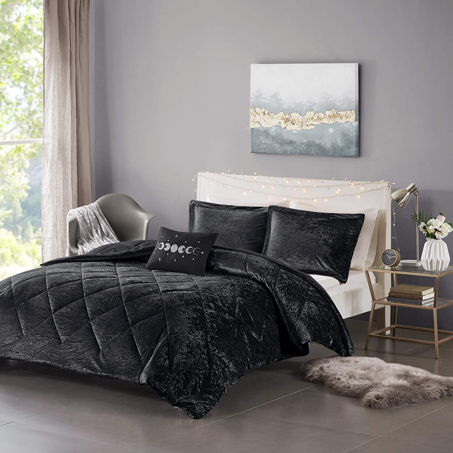 Intelligent Design Felicia Luxe Comforter Velvet Lush Double Sided Diamond Quilting Modern All Season Bedding Set with Matching Sham, Decorative Pillow, Full/Queen(90