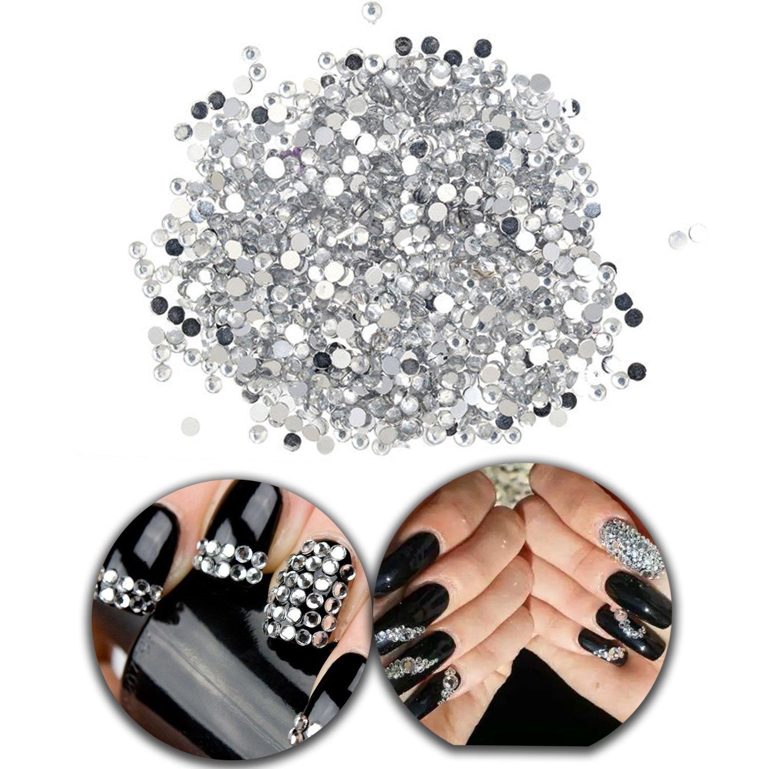 3D Nail Art Manicure Designs Pack Bag With 1440 Nails 3mm Crystals Flat Back Rhinestones Gems Jewels In Silver Colours VAGASHOP
