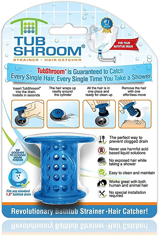 TubShroom The Revolutionary Tub Drain Protector Hair Catcher//Strainer//Snare,Blue