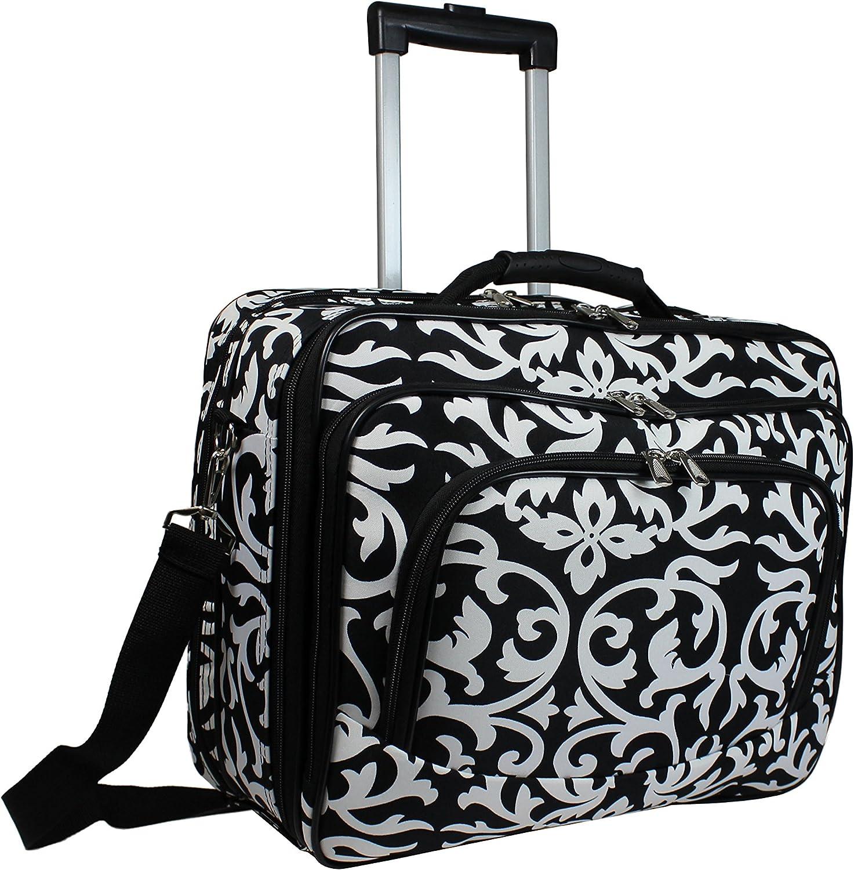 World Traveler Rolling 17-inch Laptop Case, Black Trim Damask, One Size