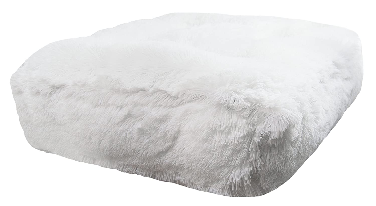 M- 36\ BESSIE AND BARNIE Snow White Extra Plush Shag Faux Fur Luxury Sicilian Rectangle Pet Dog Bed (Multiple Sizes)