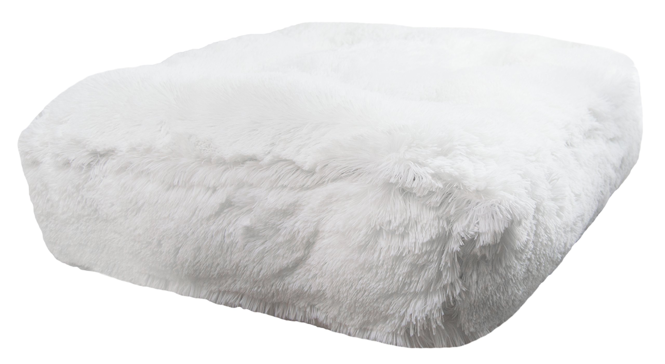 Bessie and Barnie Snow White Extra Plush Shag Faux Fur Luxury Sicilian Rectangle Pet/Dog Bed (Multiple Sizes)