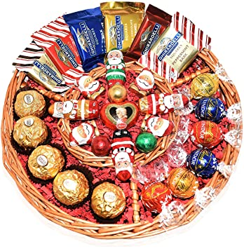 Christmas Gift Basket - Lint, Starbucks, Ghirardelli, Ferrero Rocher and Mozart Chocolate Variety Chocolate Tray for Family, Friends, Gourmet Food Gifts, Holiday, Office for Men and Women, Corporate