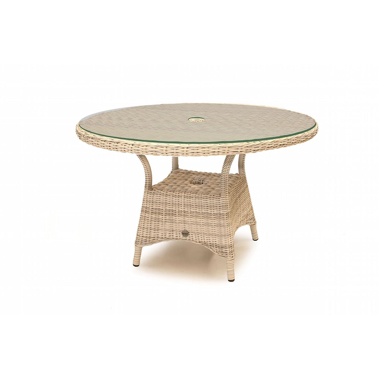 Aqua-Saar Dining Tisch Paris rund 120 cm mit Glasplatte Polyrattan ...