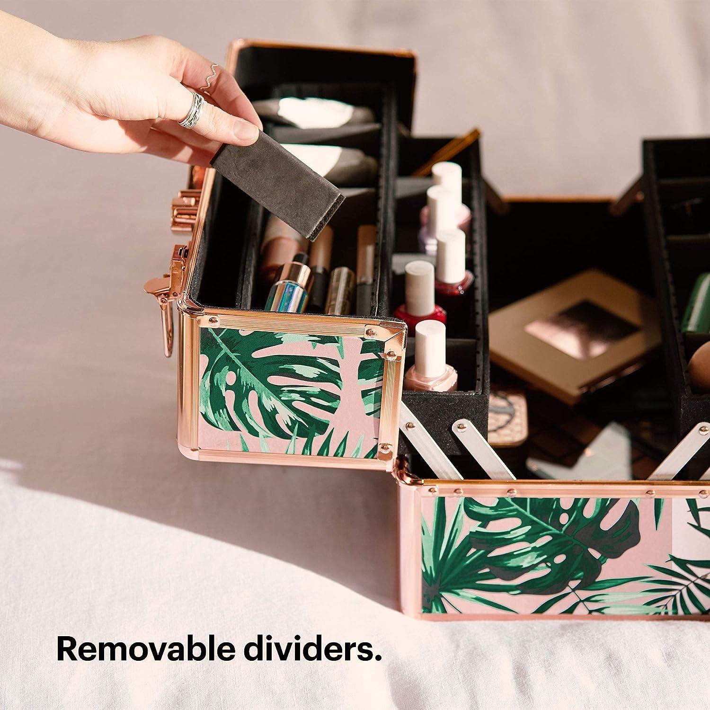 Beautify Professional Grande meuble verrouillable maquillage /étui de rangement de beaut/é//Make Up//bijoux /étui grande impression de jungle