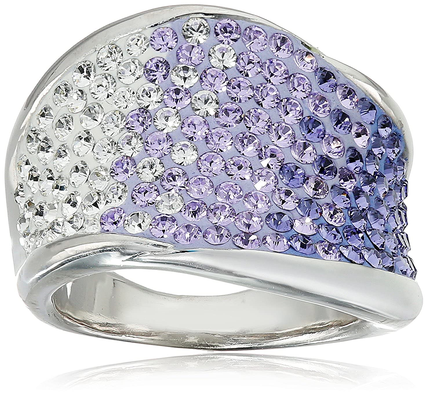 2369db6af Amazon.com: Sterling Silver Purple Faded Wave Shape Swarovski Elements Ring,  Size 9: Jewelry
