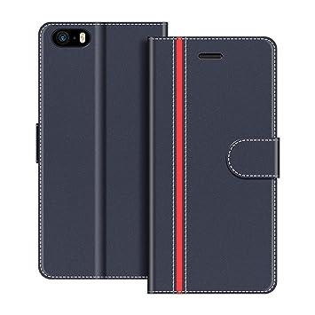 COODIO Funda iPhone SE con Tapa, Funda Movil iPhone SE, Funda Libro iPhone 5S Carcasa Magnético Funda para iPhone SE/iPhone 5S / iPhone 5, Azul ...