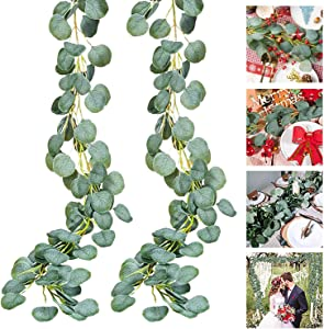Eucalyptus Garland, Norbase Holiday Decoration Artificial Faux Vines Leaves Plants Garden Decorations for Wedding Bridal Baby Shower Party Festival Backdrops Indoor Outdoor 2Pack 6Ft