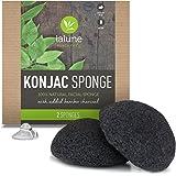 Konjac Sponge - 2 Pack - Activated Charcoal Konjac Facial Sponge - FREE All-Natural Skin Care eBook & Suction Hook - La Lune Naturals 100% Pure Konjac Cleansing Sponge, Facial Cleansing for Acne