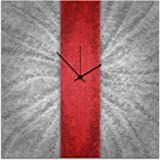 Red Wall Clock - Grey/Red Decor 'Red Stripe Clock' 22x22 in. - Modern Metal Clock - Abstract Clocks - Colorful Wall Clock