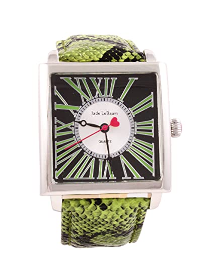 Womens Square Face Watch Roman Numerals Green Leather Band Reloj de Mujer Jade LeBaum - JB202874G