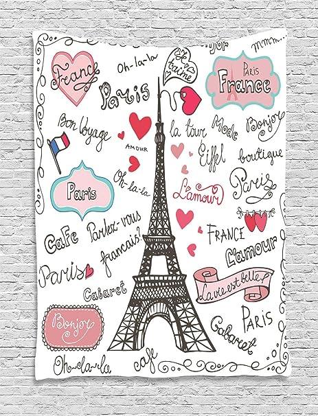 ABAKUHAUS Torre Eiffel Tapiz de Pared, París Símbolos Caligrafía ...