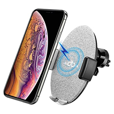 audbos Auto-Clamping Fast Wireless Car Charger, Air Vent Phone Holder Compatible with iPhone Xs Max/XR/XS/X/8/Plus Samsung Galaxy S9/S8/S7/Note 8/9, Qi-Enabled Phones, Silver