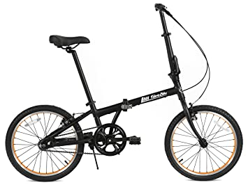 FabricBike Folding Bicicleta Plegable Cuadro Aluminio 3 Colores (Matte Black & Orange)