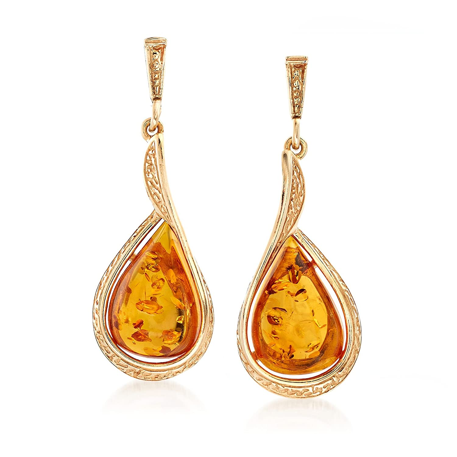 Ross-Simons Amber Textured Teardrop Earrings in 18kt Gold Over Sterling