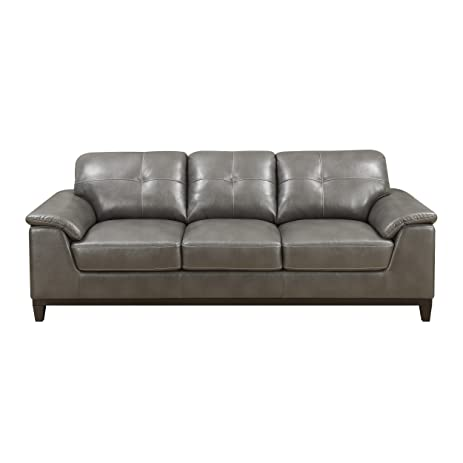 Emerald Home Gray Sofa With Faux Leather Upholstery, Padded Arms, And  Contrast Stitching