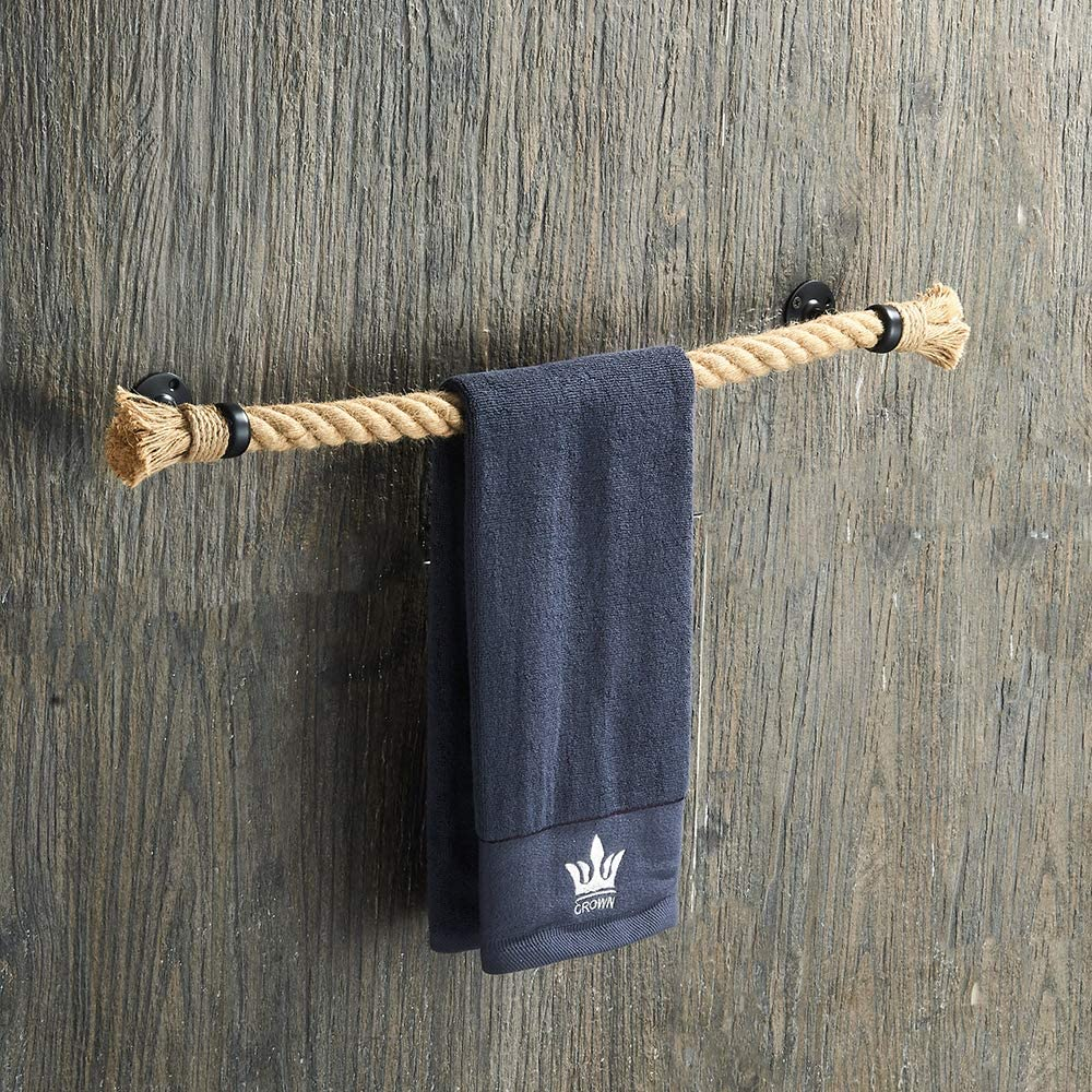 Nautical Towel Bar Black