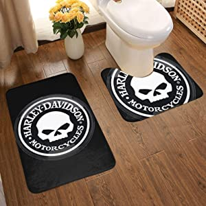 EPIC POETRY Harley Davidson Bathroom Set 2 Piece Floor Mat Cuts Off Moisture Making It Thick Without Hurting The Floor,(50x80cm)